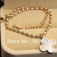 Irish leaf New Titanium steel Jewelry for Women Casual Lucky Clover Shaped White Shell & Black Glaze Bracelet
