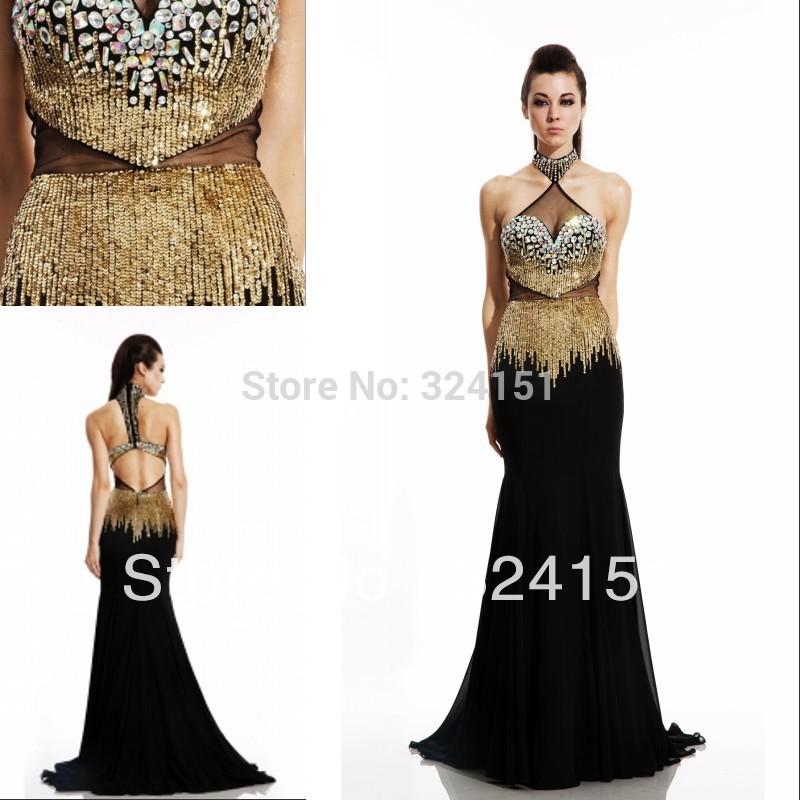Gold black long evening dresses