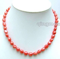 "SALE ! Big 7-9mm Red BAROQUE natural Freshwater PEARL 17"" Necklace -5784 Wholesale/retail Free shipping"