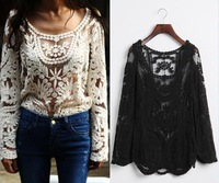 Black/Beige Summer Novelty Women Clothing Top Lace Dress Sexy Long Sleeve Floral Crochet Tee T shirt Blouse Vintage S M L XL