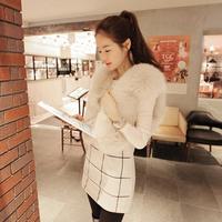 Free Shipping 2013 Autumn Winter Fur Coat Fox Fur Short Design Wool Sweater Vest Waistcoat Women's Vest
