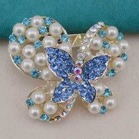 Wholesale 12 Pieces/lot Rhodium Plated Beige Pearl Blue Rhinestone Beautiful Butterfly Brooches Pins for wedding, Item: BH7600
