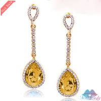 Wholesales Fashion Jewelry 18K Platinum Plated Crystal Long Water Drop Drop Earrings for women 9066