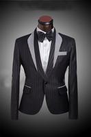 Grid Matching Collar Men's Black Wedding Suit Tuxedo For Men Custom Made Mens Pinstripe Suit Three Piece Suit((Jacket+Pants+Tie)