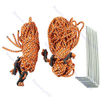 D19+8pcs Outdoor Camping Hiking Tent Pegs Stakes + 6pcs Climb Cord Rope String Kit