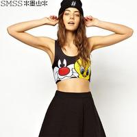 XS-XXLCartoon Animal Print Short Design Crop Tops For Women Plus size European Style T-shirts Vest Tank 2014 Summer New Fashion