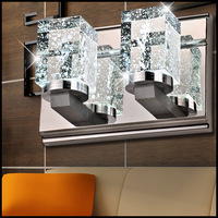 High quality stainless steel double k9 crystal wall lamp 85-265v 18W led bathroom mirror light bedroom wall inconce