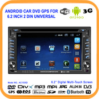 Universal Android GPS Car DVD with Wifi+USB 3G Touch Screen Double Din Car DVD Player 6.2 Inch