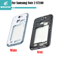 Free Shipping 100% Original For Samsung Galaxy Note II 2 N7100 Replacement Middle Frame Board Front Bezel Gray & White