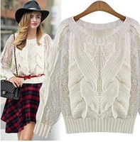 Women White Pullovers Lace Patchwork Long Sleeves Pullover Casual Tops Short Tees Vintage Sweaters Autumn Cable Sweater Knitwear
