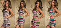 4 Colors Freeshipping 2014 New Fashion Women Sexy Vintage Printed Clubwear Tank Dress Summer Casual Dress