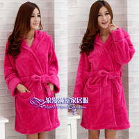 Autumn and winter elegant women's thickening with a hood coral fleece robe bathrobes fashion super soft coral fleece sleepwear