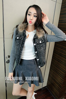2013 women's fashion fur collar knitted patchwork sleeve length pocket denim outerwear