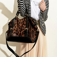 2013 fashion shoulder bag fashion color block leopard print bag patchwork handbag shoulder bag women's handbag