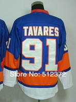Free Shipping!! #91 John Tavares navy blue(orange)  jersey  Embroidered logo( all name, numbers stitched )