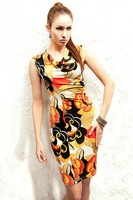 New Women's Sexy Mini Dress Long Sleeve Flower Tunic Tops T-shirt shirt V-neck Korean