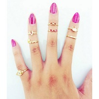Min $18(can mix)Punk Love Bowknot Crown Eyes Knuckle Midi Mid Finger Tip Stacking Tail Rings