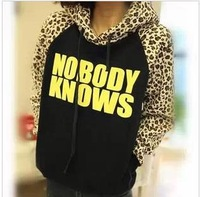2013 new fashion Korean autumn winter women's candy-colored stitching leopard print fleece hooded sweatshirts hoodies