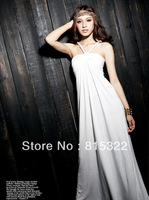 Fashion shoulder strap over-the-knee full dress solid color banquet female evening dress one-piece dress