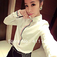 2013 new Promotions hot trendy cozy women blouse shirts jacket T-shirt Fashion  Korean Slim shirt fashion Rainbow stripes
