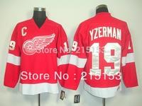 Authentic hockey jersey #19 Steve Yzerman Men Red Ice Hockey Jerseys Yzerman Jersey Free Shipping