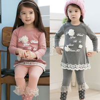 New 2013 Children Clothing Sets For Girls Autumn-Summer Letter Flower Baby Clothes Child Long Sleeve Set Girl Retail 1 set