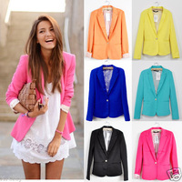 Hot 2013 Collection Amazing One Button Blazer Suit Women Candy Color Tunic Foldable Sleeve Free Shipping
