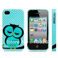Free shipping New Arrival Hot Sales Hot Sleeping Owl Printed Polka Dots Case Cover for iPhone 4/4S