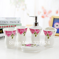 Free shipping rose ceramic bath bathing set toothbrush holder soap dispenser bathroom accessories gift set novelty households
