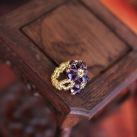 Free shipping+22pcs/lot+New Elastic Purple CZ Diamond Handmade,Flower Style,Women's Ring,Ceramics Chain Ring