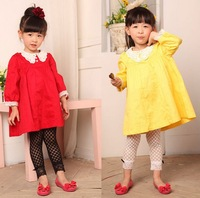 Free Shipping New Spring Autumn Clothes 4 pcs/lot 100% Cotton Girl Lovely Doll Collar Dress, Long Sleeve Lace Princess Dress