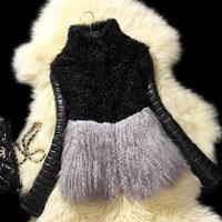 2013 Autumn Winter Women's Genuine Lamb Fur Coat with Sheepskin Leather Sleeve Female Warm Jacket VK2008