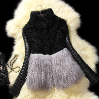 2013 Autumn Winter Women's Genuine Lamb Fur Coat with Sheepskin Leather Sleeve Female Warm Jacket VK2008