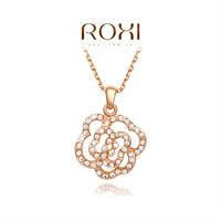 ROXI Exquisite fashion Hollow rose necklace/Chrismas gifts, Austrian crystal,fashion Environmental  women Jewelry,2030215580