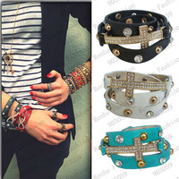 New Fashion Cross Pave crystal pu leather Triple wrap Shamballa bracelet 9 colors available Wholesale/Retailer