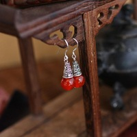 Free shipping+10 pairs/lot+ForeignTrade Single Super Bohemia Style Red Agate Silver Women's Earrings