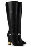 New 2013 knee boot Black calf hide low boot with internal wedge and slanted toe zipper and gold-plated heel