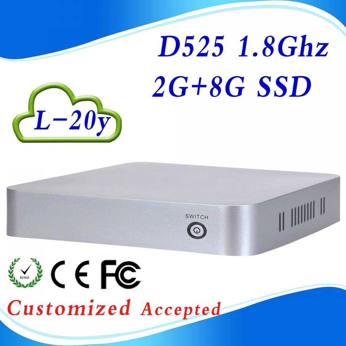 Mini computer smart tv box htpc mini computer 2G RAM 8G SSD INTEL D525 Atom Dual-core intel 3150 graphics Support WIN7, Linux,(China (Mainland))