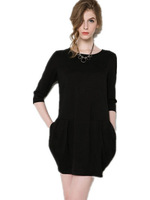Free Shipping New Autumn Winter fashion ol elegant  loose pleated dress ,knee length Zipper  career dress  black/green