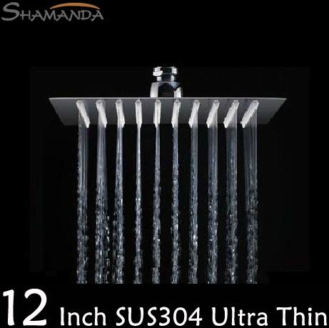 Livraison gratuite de produits en acier inoxydable miroir de salle de bains 304 12 pouces. ultra mince tête de douche pluie, sus 304 pluie douche de tête