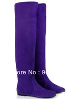 Girls Flat Winter Boot Purple suede thigh high boot with rounded toe