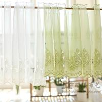 White rose semi-shade shalian coffee curtain solid color embroidered semi-shade curtain short curtain kitchen cabinet curtain