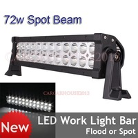 13.5inch 24LEDs*3W 72W Driving Light Bar Work Lamp OffRoad Boat Truck 4WD 12/24V Spot Beam Free Fast Shipping