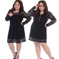 Birthday Gifts! 4XL Plus Size Fat Women Dresses 2013 New Fashion V-Neck  Zipper Slim Lace Dresses Long Sleeve Sexy Black  Dress