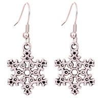 Yazilind Jewelry Christmas On Sale Tibetan Silver snowflakes shape Ear Wire Hook Dangle Earrings for Women