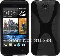1PCS black X line TPU gel soft cover case for htc Desire 300 301e Free shipping