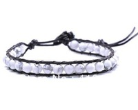 Shipping Free;Natural White Howlite Black Leather Single Wrap Bracelet,Adjustable Length and Alloy Oval Button