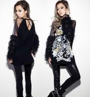 2013 Free Shipping New Women's Punk Skull Gauze Black Open Back Mesh Sexy Tassel Lose T shirt Tops Long Sleeve sale EV