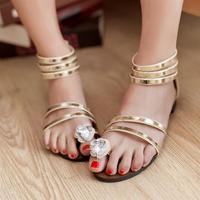 Free shipping Zipper low sweet sandals gladiator style rhinestone flat heel women's shoes summer women's flat