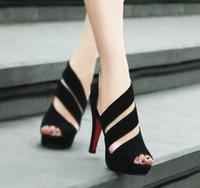 Fashion velvet 2013 cutout platform open toe pumps high-heeled single shoes side zipper women's sandals